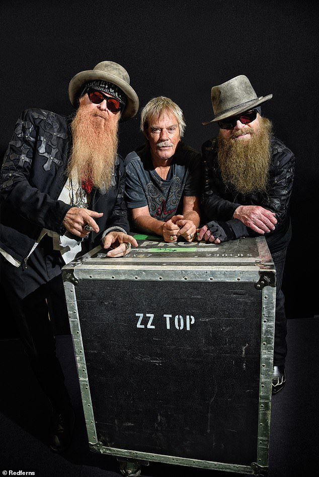 The Three of Us: Their signature was the very long beards of two of the band members, Hill and Gibbons.  From left to right, Gibbons, Beard and Hill in 2016