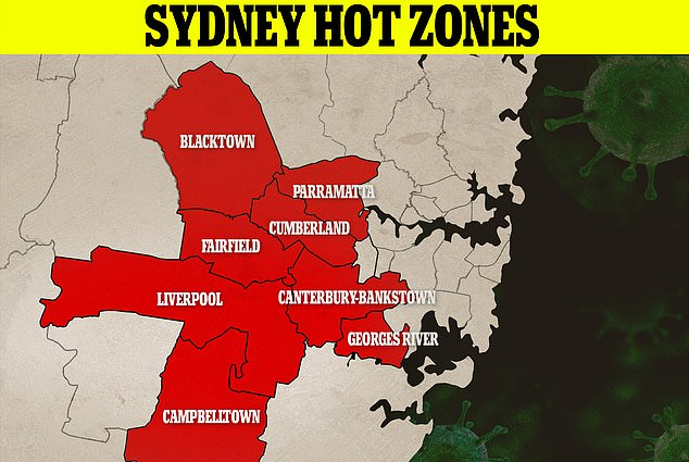 The map indicates the eight local government areas where Covid-19 is transmitting the most rapidly.New South Wales has recorded another 239 cases of the highly-contagious Delta variant of the virus