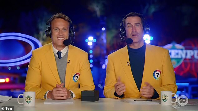 Strength to strength: Following his retirement, Matt began his media career as a sports presenter with Sky News Australia in 2010. Seen here with co-host Rob Riggle on Holey Moley
