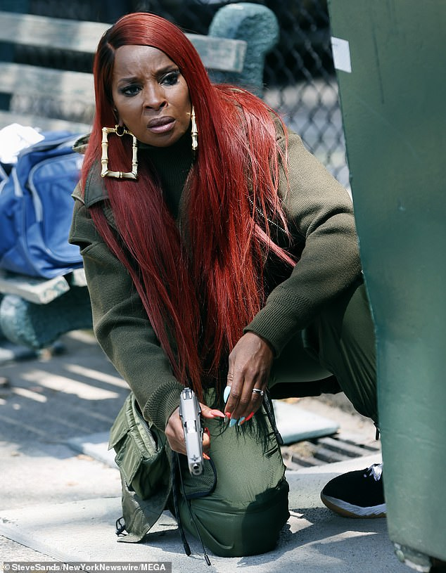 Day at the office! Mary J. Blige was spotted filming an intense scene forPower Book II: Ghost in New York City on July 27
