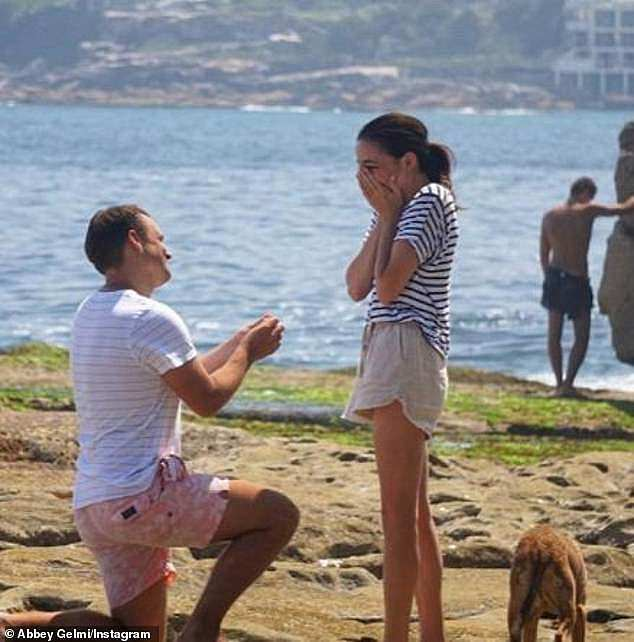 Happier times:Ben popped the question during a romantic beachside proposal in North Bondi in 2018