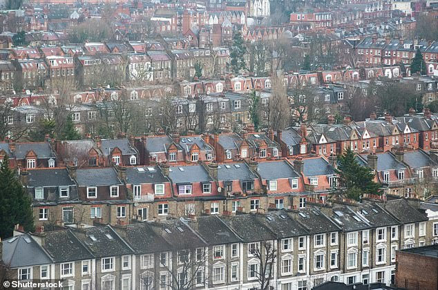 The UK is protected by water, although it has a high population density. Pictured, packed rows of terraced housing in London