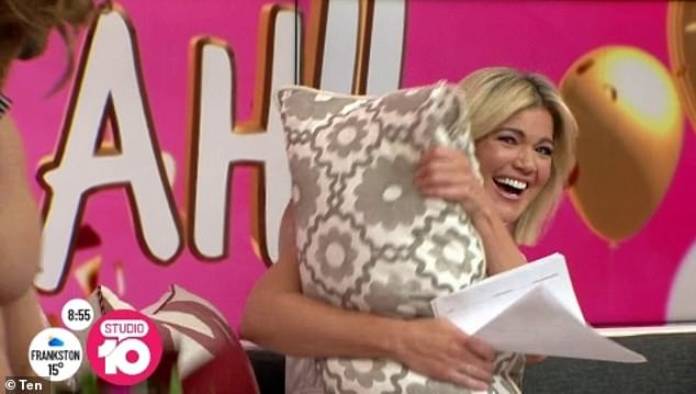 Too much! Studio 10 host Sarah Harris was surprised by the striptease as she celebrated her 40th birthday