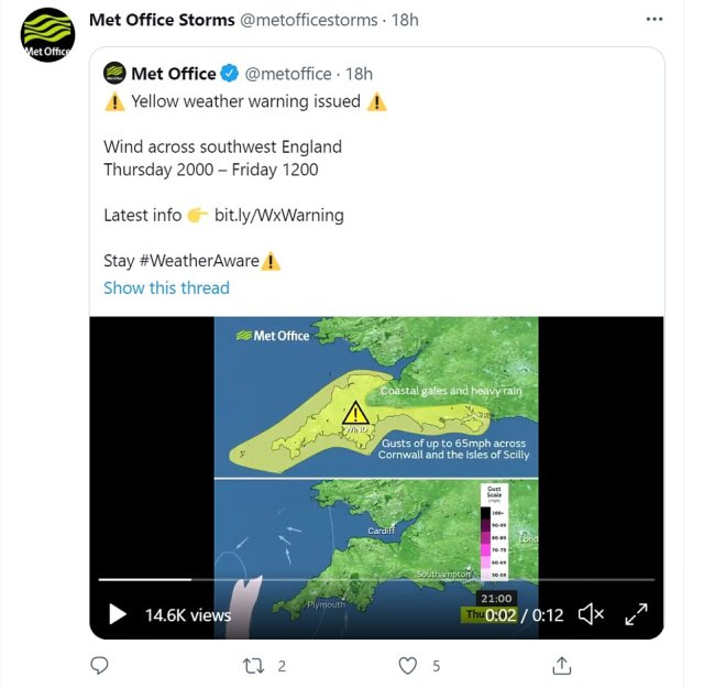The Met Office said: 'Storm Evert has been named and is forecast to bring unseasonably strong winds and heavy rain to southern parts of the UK'