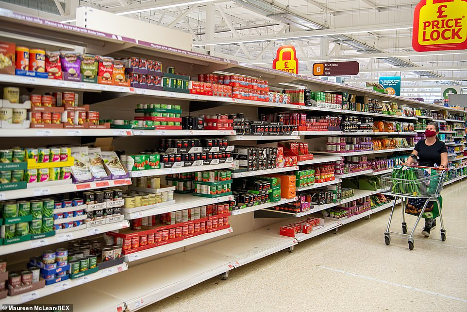 Most shelves in the Buckinghamshire supermarket were well-stocked but there were still gaps for products such as tinned tomatoes and baked beans