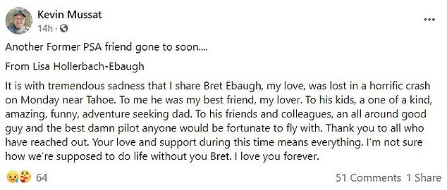 His wife confirmed his death on Facebook, and Kevin Mussat made her post public