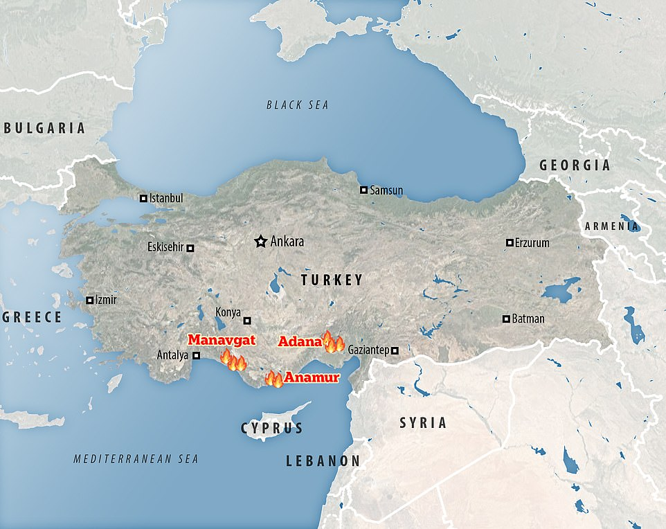 Firefighters are tackling 17 fires in the region, the largest in Manavgat, Anamur and Adana, in southern Turkey