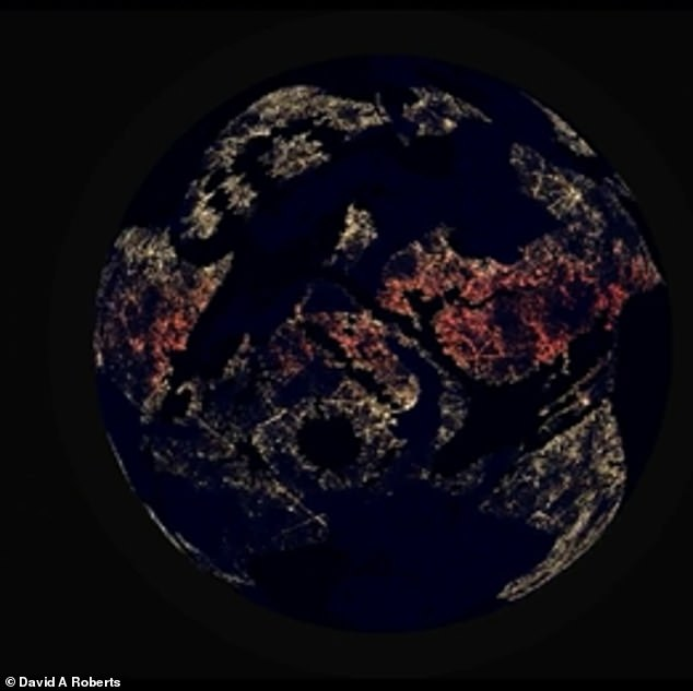 The once barren terrain was shining with bright lights signaling a technologically advanced civilization that uses fossil fuels which are polluting the planet