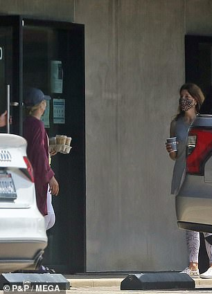 The two were later seen parting ways after Cohen picked up a carry-out tray with two iced coffee drinks at Starbucks