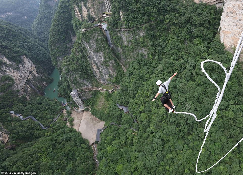 Jumping into the abyss below might be terrifying for some, but operator Jonni Deaker believes the sheer height makes it less intimidating than smaller jumps