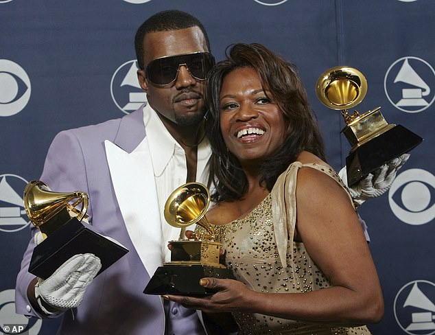 Donda is her mother: West and her mother, Donda, hold their three awards backstage at the 48th Annual Grammy Awards in Los Angeles in 2007
