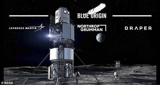 A Blue Origin spokesperson told DailyMail.com in email: 'We stand firm in our belief that there were fundamental issues with NASA's decision, but the GAO wasn't able to address them due to their limited jurisdiction. Pictured is Blue Origin's concept for the lunar lander