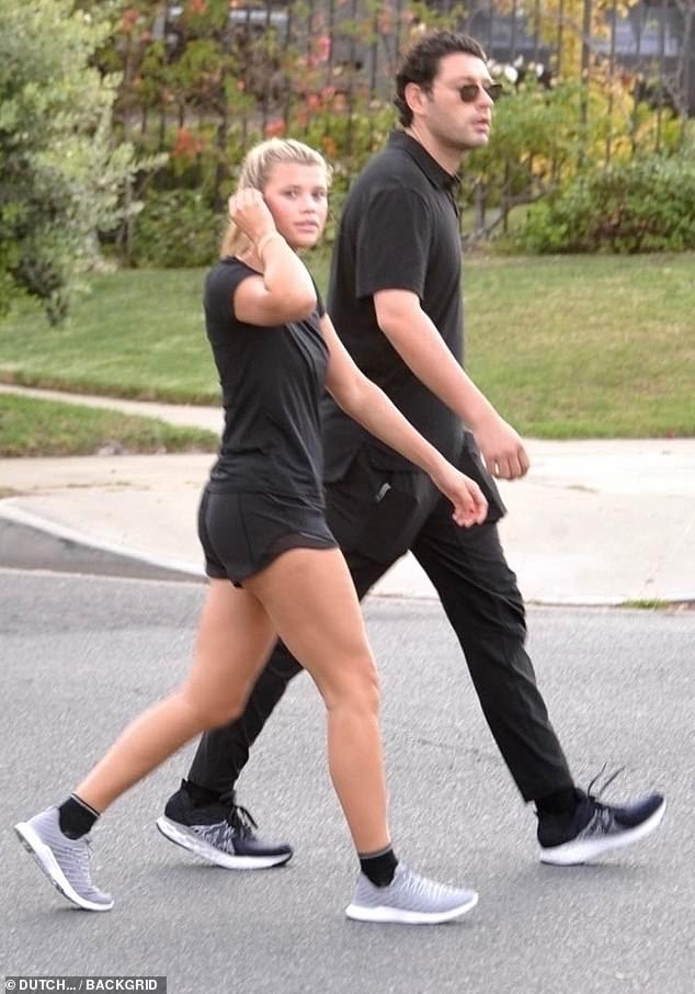 Morning walk: Sofia Richie started her Saturday with a vigorous walk around her Beverly Hills neighborhood with boyfriend Elliot Grainge
