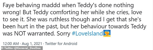 Sad:Fans took to Twitter to share their pity for the 26-year-old, with one fan stating that Faye's 'behaviour towards Teddy was NOT warranted'