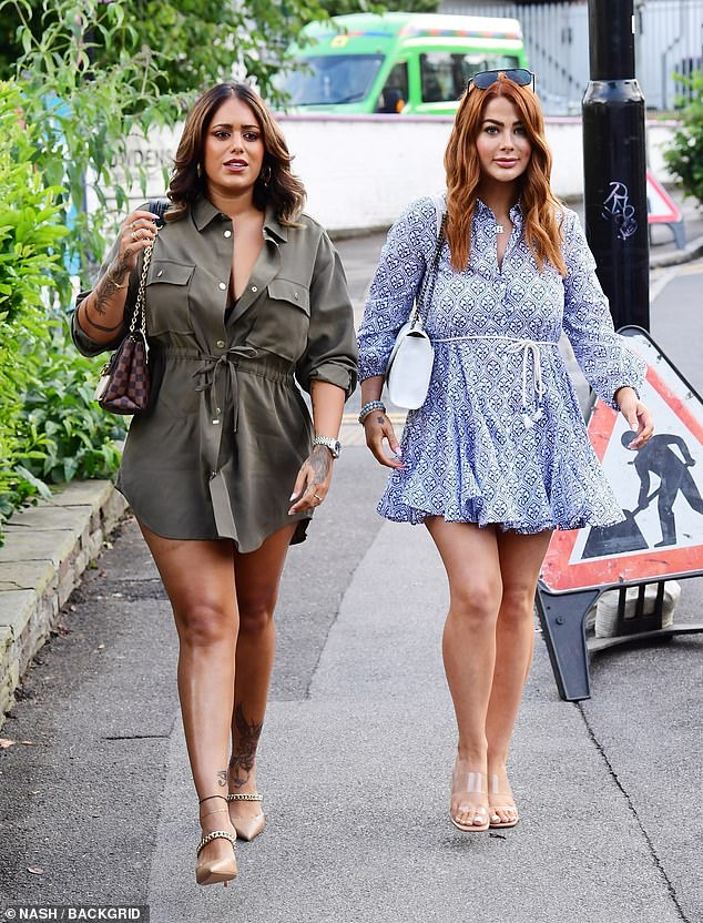 Girls' night:The Love Island star looked gorgeous in a thigh-skimming khaki shirt dress when she stepped out alongside fellow former Islander Jessica Hayes