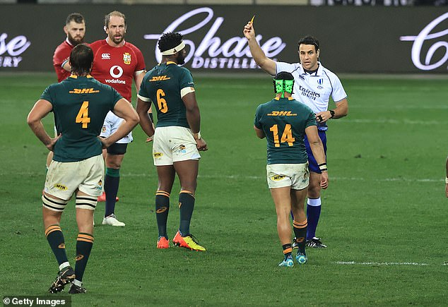 Cheslin Kolbe was shown a yellow card for taking out Conor Murray in mid-air