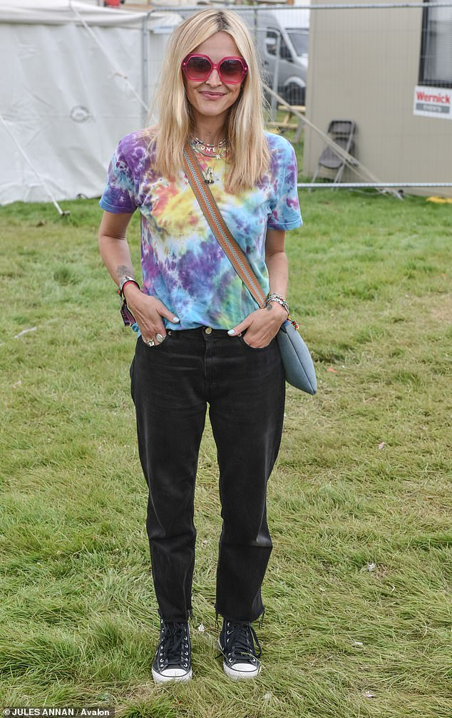 Summer style:Fearne Cotton put on a chic display in festival attire as she supported her husband Jesse Wood at Bestival on Sunday