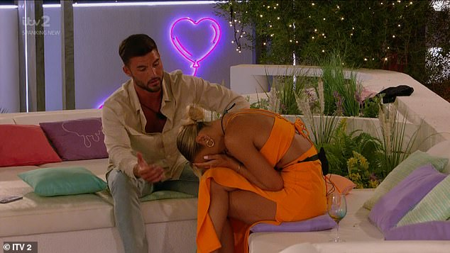 It's over:Millie was left in tears after Lillie shared details of her and Liam's 'cuddles and leg ticking' and later telling Liam in the villa: 'I don't think I can go forward with this'