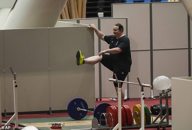 Hubbard limbering up before practice in Tokyo over the weekend