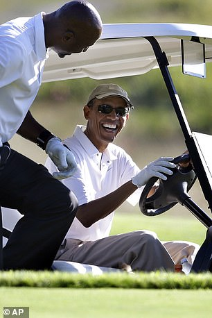 Former President Barack Obama prepared to play golf with former NBA player Alonzo Mourning on Martha's Vineyard in 2014. He is now planning to hold his 60th birthday there