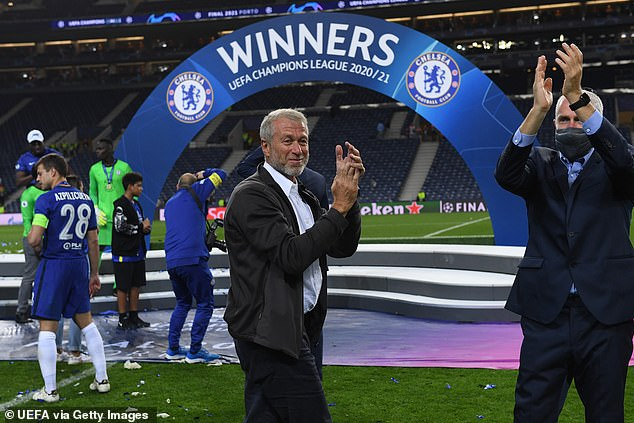 Chelsea FC owner Roman Abramovich celebrates winning the Champions League in May