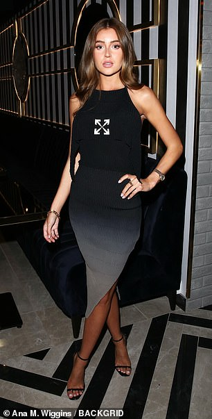 Stylish: Georgia Steele, who shot to fame on Love Island's 2018 series, looked lovely in a black dress and heels