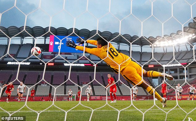 Jessie Fleming of Canada scores their first goal from the penalty spot against Adrianna Franch