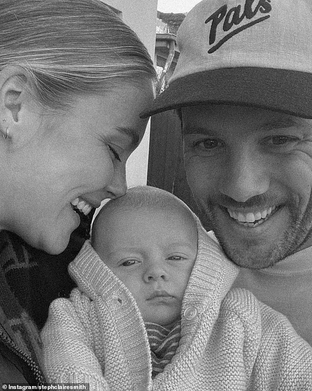 Young family: It's not the first time Harvey has suffered a poo explosion since Steph welcomed him on May 4 with her husband of two years, Josh Miller