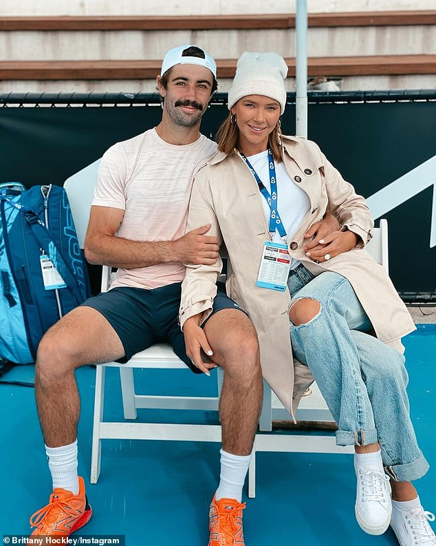 Love all: Brittany made her relationship public with the 27-year-old Australian tennis pro back in February, sharing a cosy photo of them together