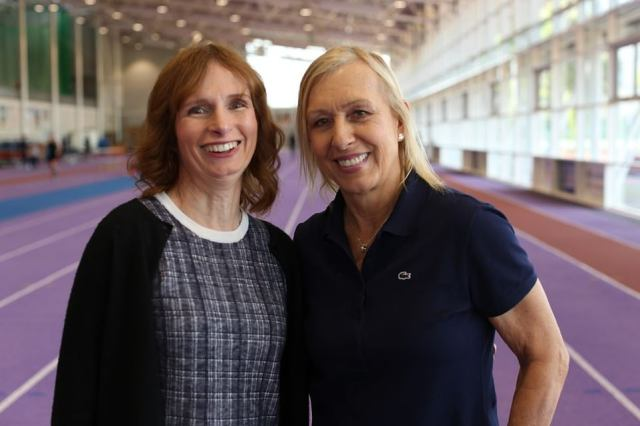 Dr Harper (pictured left here with former tennis starMartina Navratilova) maintains that hormone treatment for trans women mitigates the advantages of strength they would enjoy competing against women in sporting events