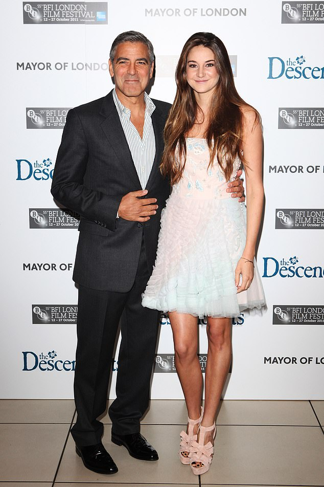 He played her father: George Clooney (L) and Woodley attend The Descendants premiere during the 55th BFI London Film Festival at Odeon Leicester Square in 2011; here she was 19