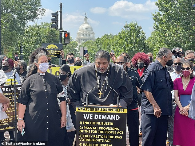 Bishop William J. Barber addresses the crowd ahead of the march on Monday