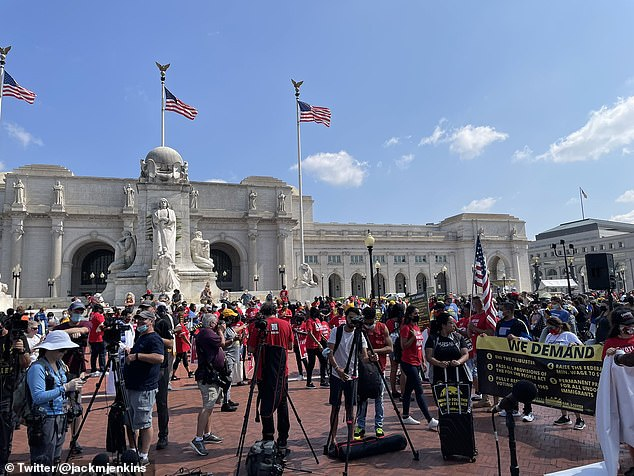 The group gathered in front of Union Station in Washington DC before marching through the city towards the U.S. Capitol