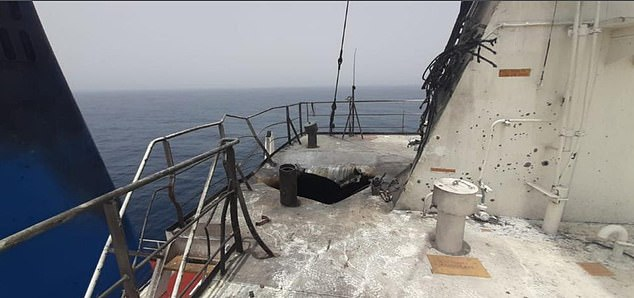 Damage purportedly to the Mercer Street oil tanker after the bridge of the vessel was struck by an explosive-laden kamikaze drone