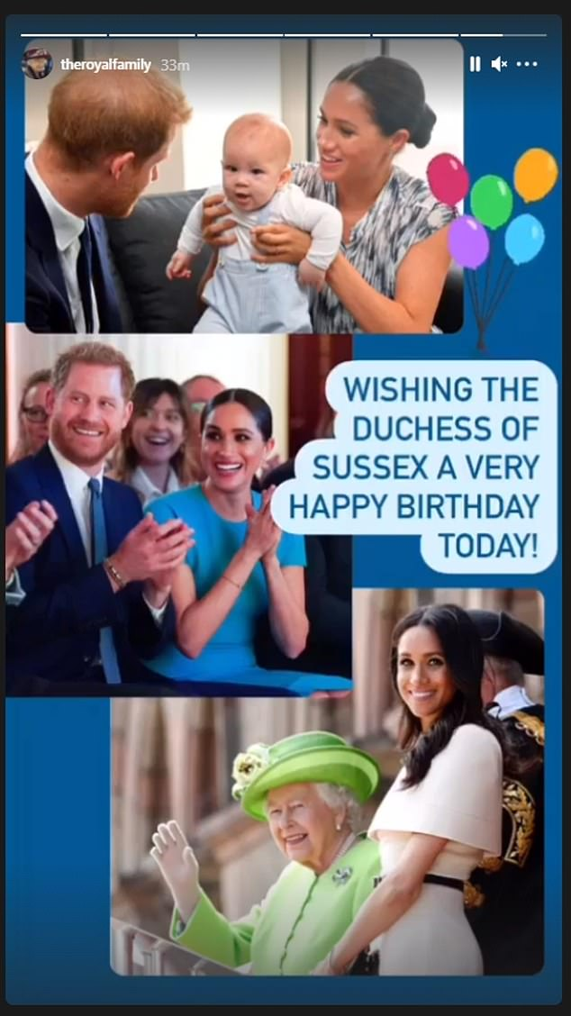 The Queen shared this trio of photos of the Duchess of Sussex to mark the milestone birthday