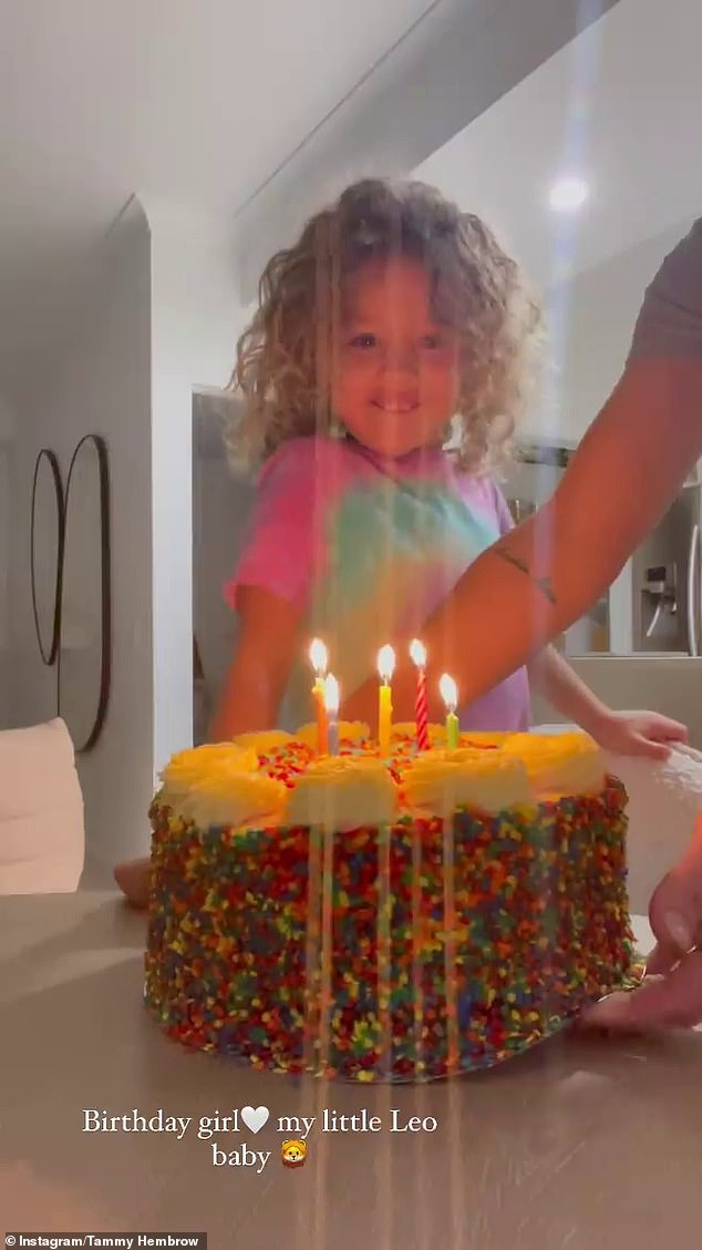Celebration:She also shared a video of Saskia smiling while blowing her birthday candles