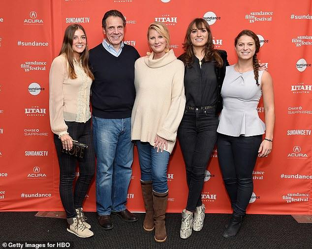 Lee moved to California after her split with Cuomo in 2019 and is currently jetting over Europe (pictured in 2018 with Michaela, left, Maria, second right, and Cara, right)
