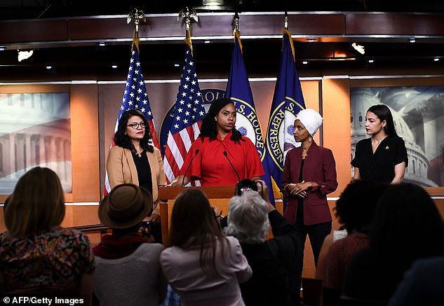 The Squad; US Representatives Ayanna Pressley (D-MA) speaks as, Ilhan Omar (D-MN)(2R), Rashida Tlaib (D-MI) (R), and Alexandria Ocasio-Cortez (D-NY) look on during a press conference