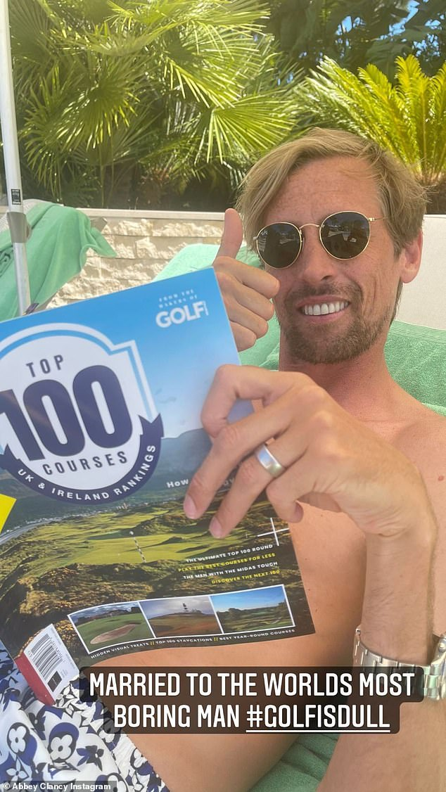 Funny: The model, 35, also shared a second snap as her husband Peter Crouch, 40, relaxed on a lounge chair while reading a golf magazine, prompting her to call it