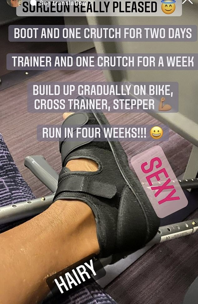 """Yay!  She wrote: """"Really delighted surgeon.  Boot and a crutch for two days.  Trainer and a crutch for a week.  Gradually get on your bike, elliptical trainer, stepper.  Run in four weeks! '"""