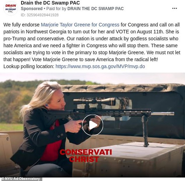 Facebook says its tried since summer 2020 to work with NYU and the members of Cybersecurity for Democracy. Pictured: A political ad for Rep. Marjorie Taylor Greene that appears in the Ad Observatory database, with details on when it ran, who paid for it, and why the user was targeted