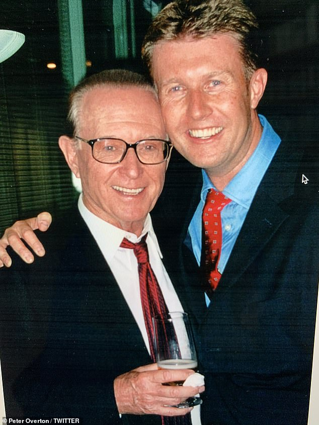 Throwback: 'Remembering a true legend, friend & mentor,' began Overton's tweet, which was accompanied by photos of him with the TV news stalwart over the years