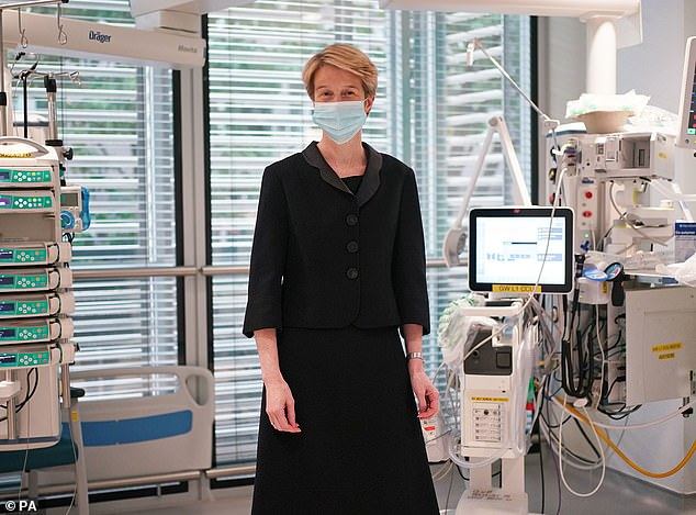 New NHS boss Amanda Pritchard today urged young people to get the jab, as she revealed a fifth of all people going to hospital in England with Covid are adults under 34-years-old. (Pictured: Ms Pritchard during a visit to University College Hospital London last Wednesday)