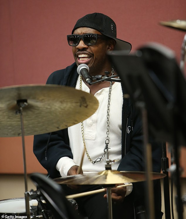 Perfect stand in: Steve Jordan, a session drummer and long-time friend of the band, said it was 'an honour and privilege' to stand in for Watts during the 13-date No Filter tour of the US