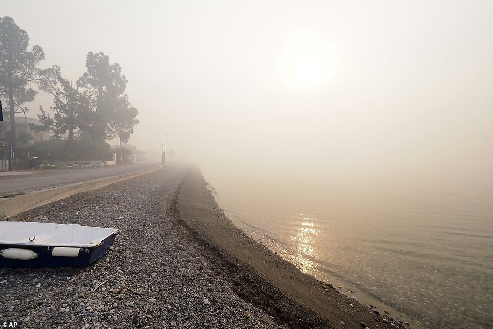 Smoke spreads over a beach during a wildfire in Limni village on the island of Evia