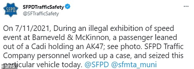 The image came from Twitter post by the San Francisco Traffic Safety account. The woman was seen leaning out of the window of a Cadillac with the weapon, they said, in the area of Barneveld and McKinnon Avenues on July 11.
