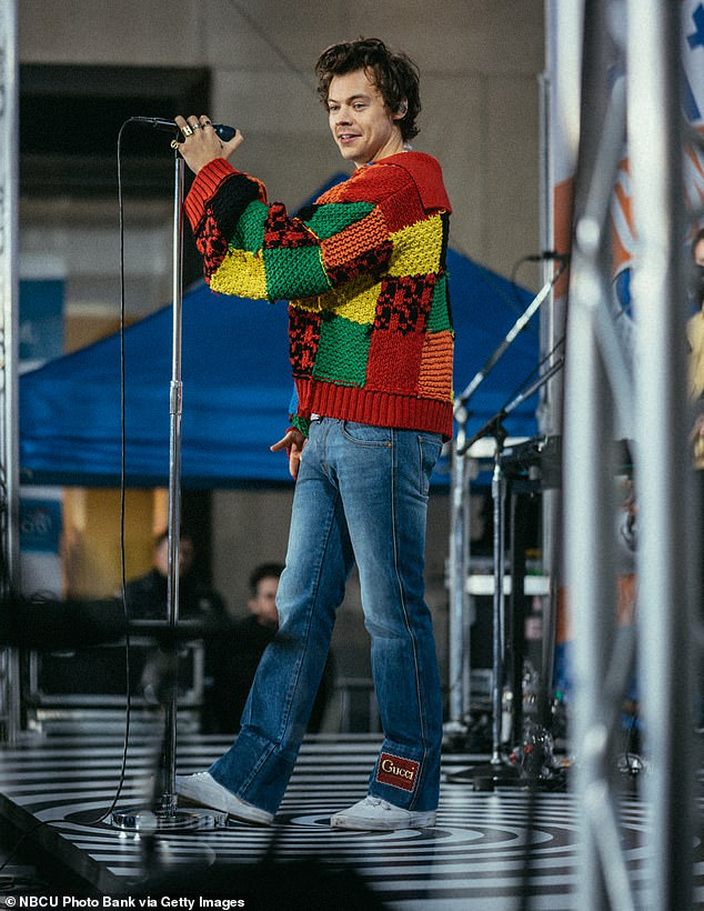 Craze: The patchwork cardigan worn by Harry (pictured) captured the imagination of his fans, with thousands attempting to create their own versions on social media