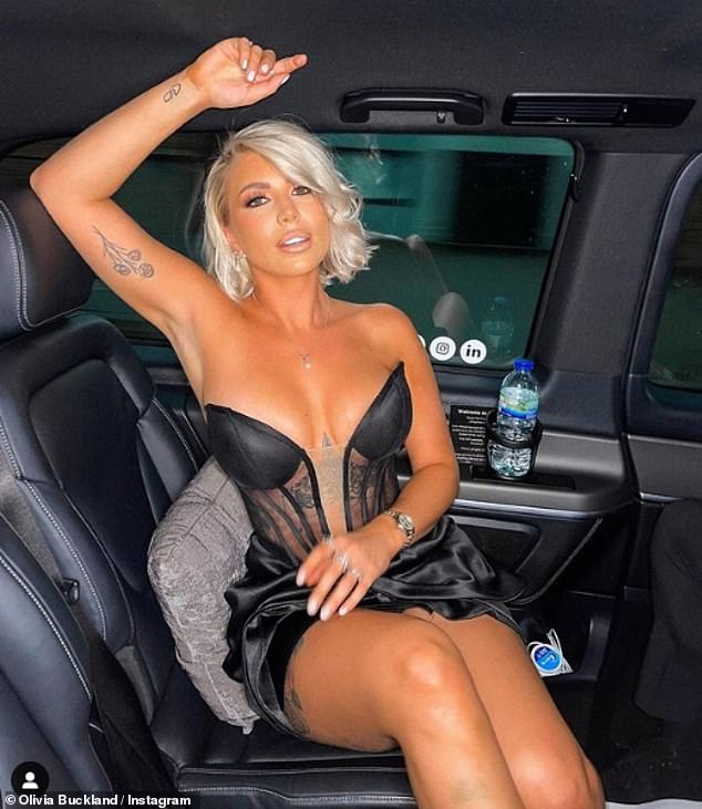 Look at me: Taking to Instagram ahead of the party, Olivia shared a picture of herself sitting in the back of a car on the way to the venue