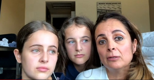Pictured: Claudia Rattray talks to BBC via video alongside her daughters. Claudia and her two daughters arrived in Mexico city today to learn the country had been upgraded to the red list