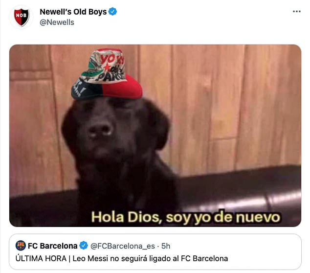 His old side Newell's Old Boys posted a hilarious meme joking that Messi could return to them